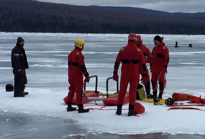 Pittsburg Fire & Rescue about to retrieve tow riders (in the background) stuck in water on First Connecticut Lake. Everyone is safe and OK.